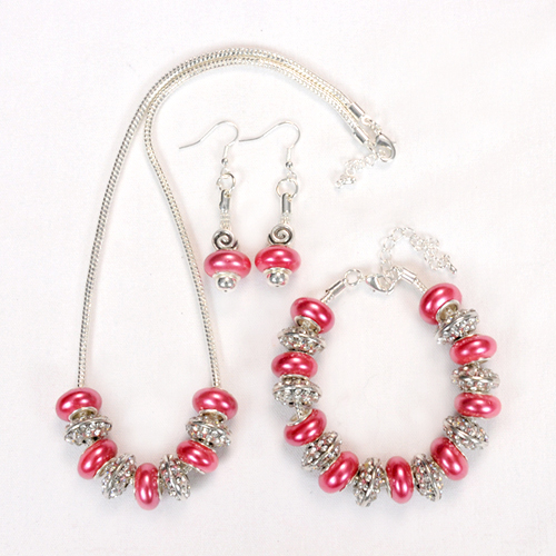 Coral Bling Bead Jewelry Three Piece Set