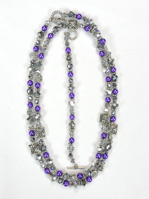 Purple and Silver Double Hung Beaded Jewelry Set