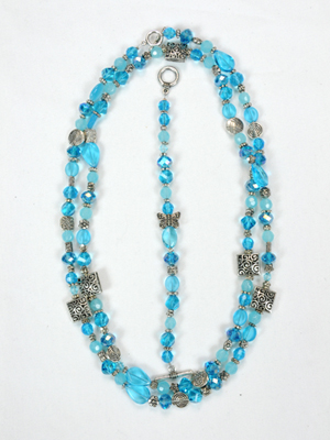 Blue Double Hung Jewelry Set w/Butterfly