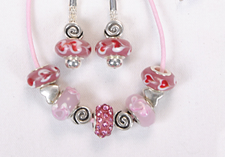 Sweetheart Pink Beaded Jewelry Set