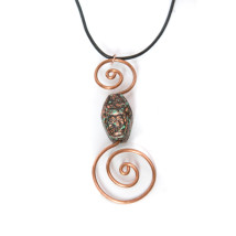 Patina Double Spiral Copper Wire Pendant Necklace