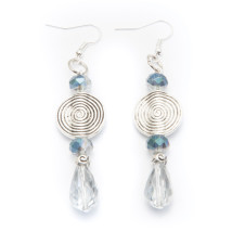 Silver Dangling Earrings with Silver Blue Bead Accents