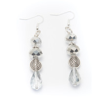 Silver Plated Dangling Earrings with Silver Beads and Spirals