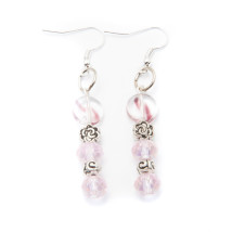 Silver Plated Earrings with Pink and Clear Beads
