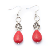 Silver Plated Earrings with Red Stones