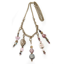 5 Pendant Antique Brass with Purple & Gray Beads