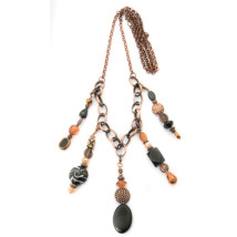 5 Pendant Copper Colored Necklace with Black & Amber Beads