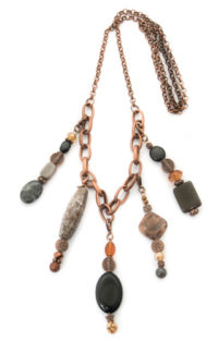 5-pendant-copper-colored-necklace-with-variety-of-black-earthtone-beads