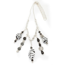 5 Pendant Silver Plated Necklace with Black & White Beads