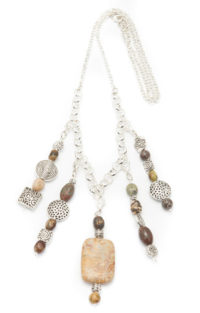 5-pendant-silver-plated-necklace-with-variety-of-earthtone-beads