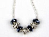 Gray Bling Faceted Bead Necklace