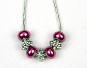 Hot Pink Bling Solid Bead Necklace