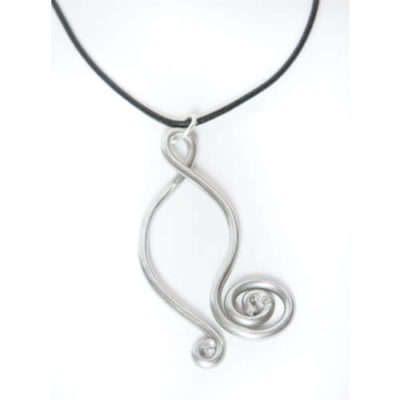 Wishbone Aluminum Wire Pendant Necklace