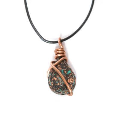 Patina Tear Drop Copper Wire Pendant Necklace - Best Seller!