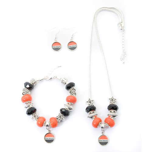 Cincinnati Bengals Necklace Bracelet Earring Set Handmade