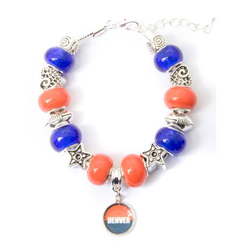 Denver broncos charm bracelet with dangling pendant my favorite beads denver broncos bracelet with dangling pendant aloadofball Gallery