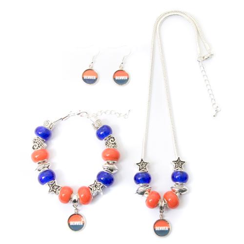 Denver Broncos Necklace Bracelet Earrings 3 Piece