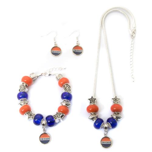 Chicago Bears Jewelry Set Necklace Bracelet Earrings